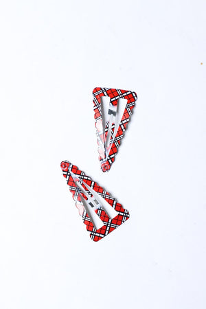 RED AND BLACK CHECKERED SNAP HAIR CLIP