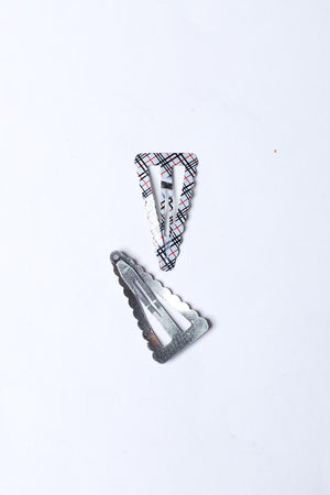 BLACK AND WHITE CHECKERED SNAP HAIR CLIP