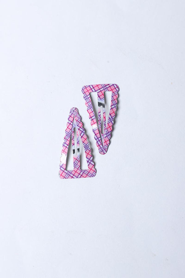 PINK AND PURPLE CHECKERED SNAP HAIR CLIP