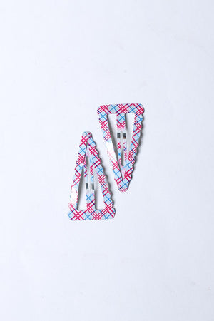 RED AND BLUE CHECKERED SNAP HAIR CLIP