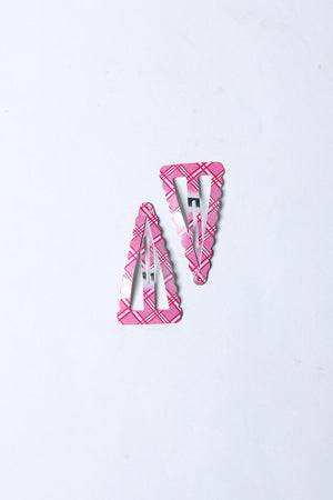 PINK AND WHITE CHECKERED SNAP HAIR CLIP