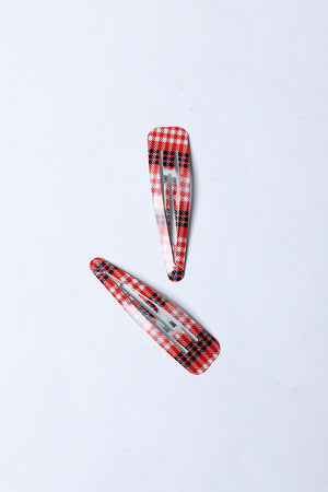 RED AND BLACK RESIN HAIR CLIP