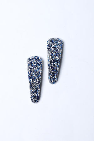 BLUE AND SILVER DIAMANTE HAIRCLIPS