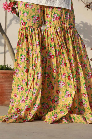 Yellow Summer Floral Gharara