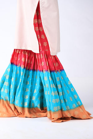 Blue, Red and Pastel Orange Block Print Gharara
