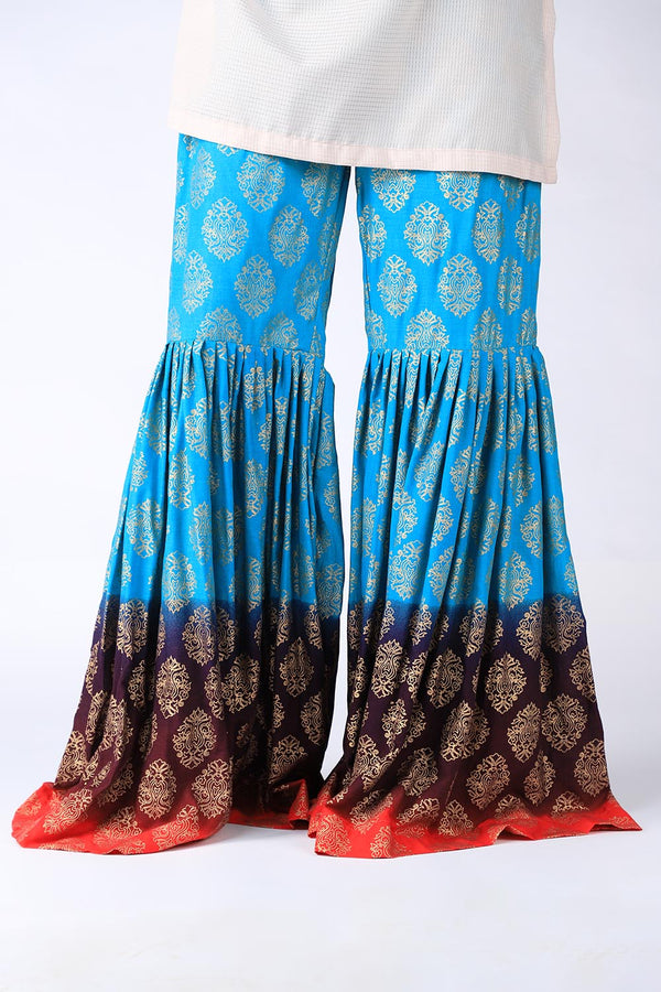 Purple, Blue and Red Block Print Gharara