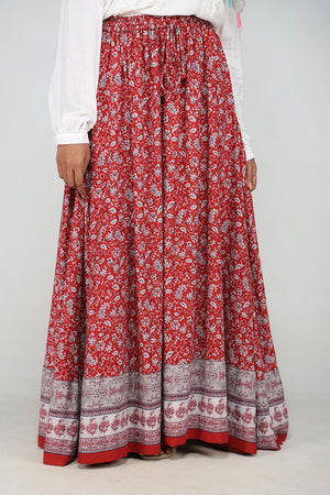 Maroon Boho Gypsy Summer Skirt