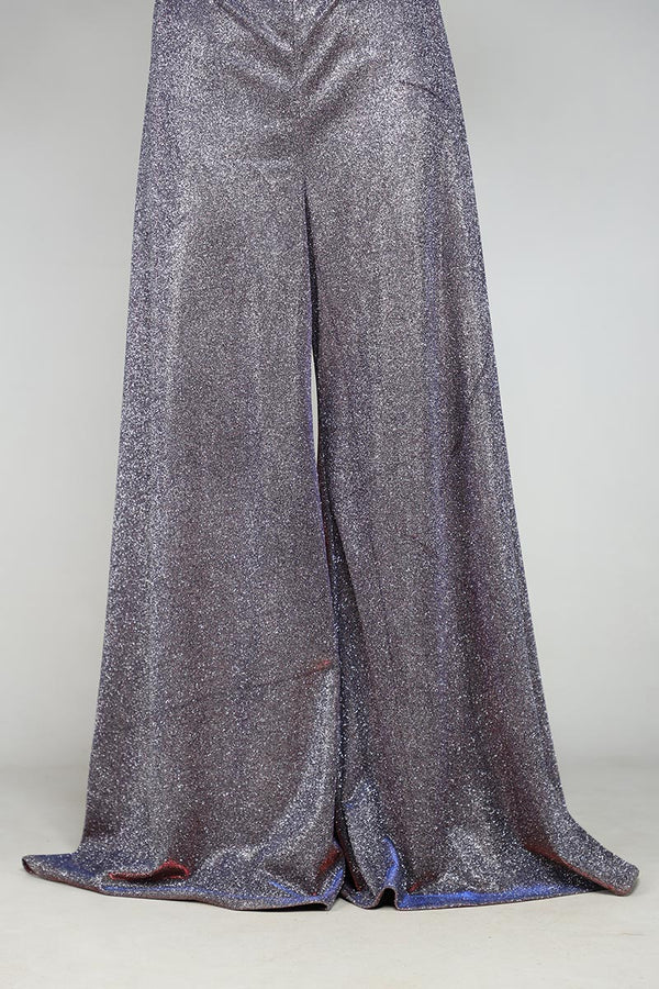 Metallic Grey and Red Two Toned Shimmer Palazzos