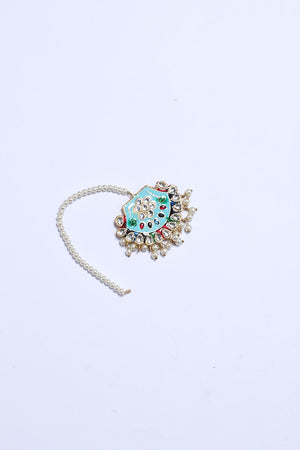 ICE BLUE TEEKA WITH FAUX PEARL DETAIL FINISH