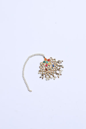 GOLD TEEKA WITH RAINBOW STONES DETAIL