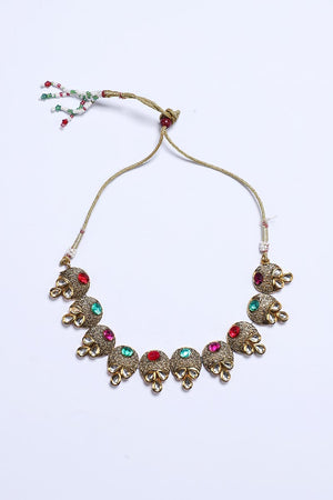 Statement Necklace With Colorful Diamonte in Gold Tone