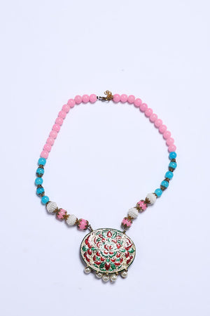PINK AND BLUE RESIN BEADED NECKLACE