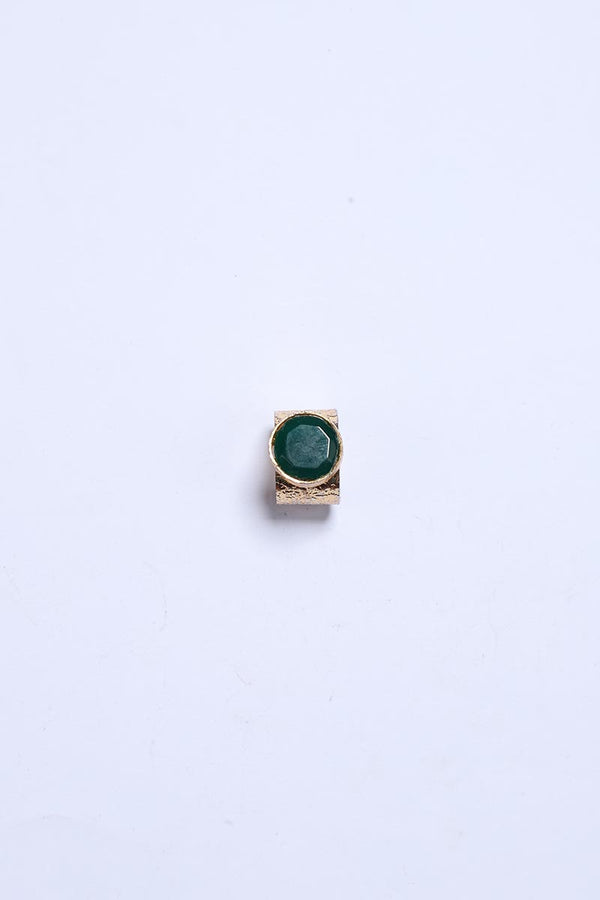 Emerald Green Stone Ring with Gold Tone Finish
