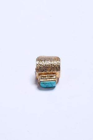 Turquoise Stone Ring with Gold Tone Finish