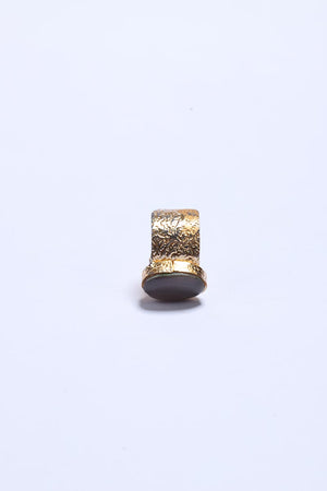 Grey Stone Ring with Gold Tone Finish