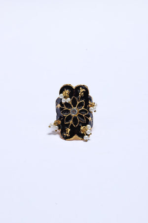 Black Ring with Gold Tone Finish