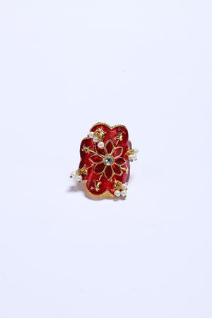 Red Ring with Gold Tone Finish