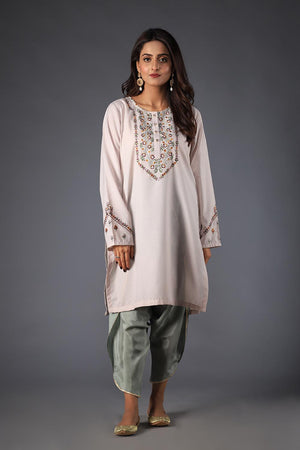 Grey Cotton Silk Tulip Shalwaar With Delicate Gota Style Finishing