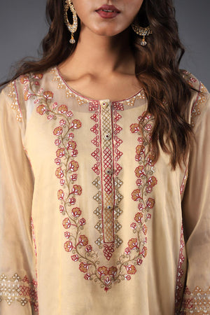 Golden Beige Meysuri Style Kurta with Tradtional Haar Style Threadwork Neckline