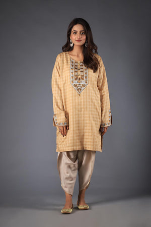 Beige Self Checkered Print Silk Kurta with Tribal and Flora Style Thread Embroidery