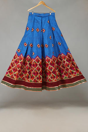 Electric Blue With Multi Coloured Print and Green Gota Border Indian Silk Lengha