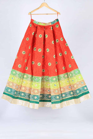 Red and Green Chunri Border Detail Indian Silk Lengha