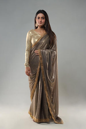 Olive green and gold highlight chiffon saari with bronze border finishing