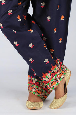 Blue colourful Embroidered Shalwar