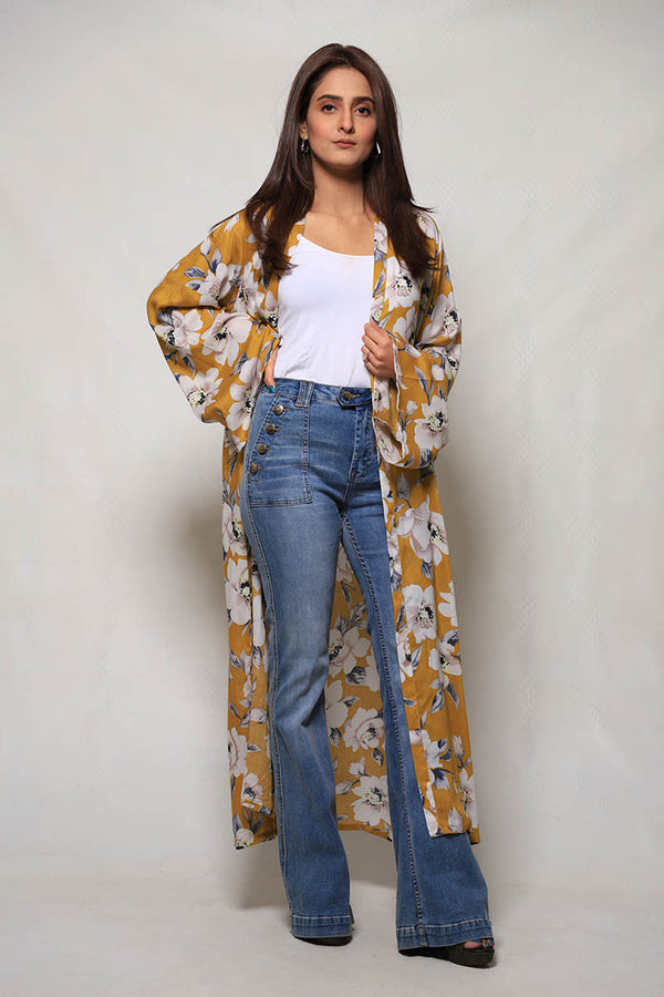 Mustard Yellow Floral Malai Lawn Cape