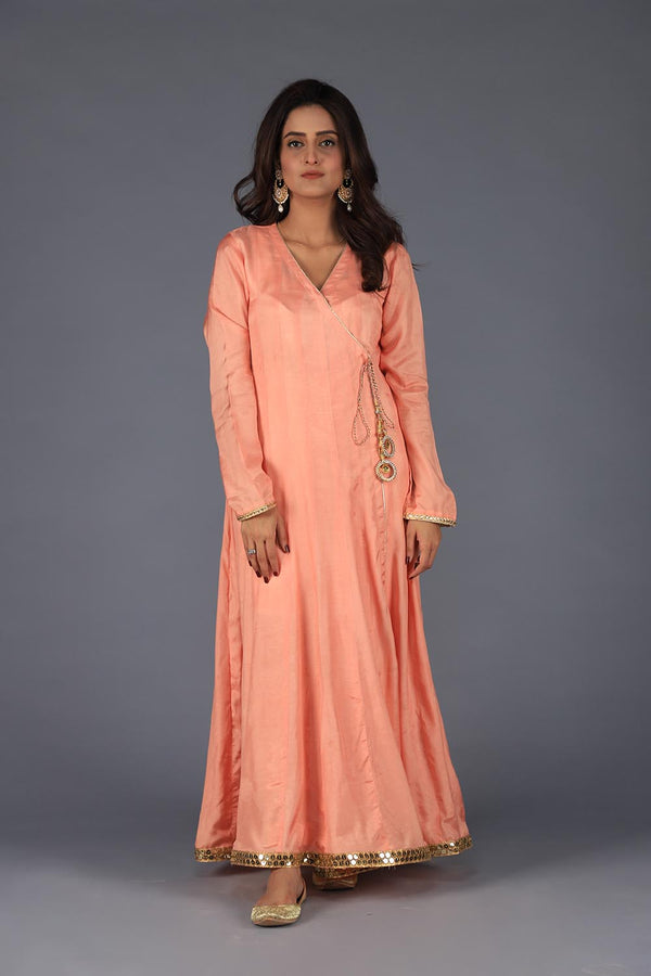 Peach Cotton Silk Angarka with Golden Gota Style Lace Finishing