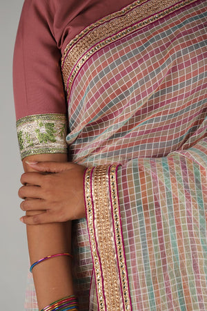 Multicoloured Tissue Self Print Saari with Gota Border Style Details