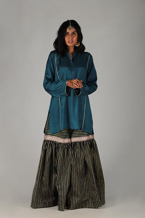 TEAL BLUE GHARARA WITH GOTA STYLE FINISHING & UNSTITCHED KURTA.