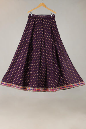 PURPLE HANDLOOM BANARSI NET LENGHA WITH UNSTITCHED BLOUSE WITH DORI DETAILING ADDED