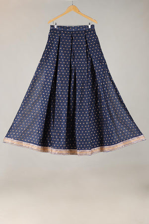 BLUE HANDLOOM BANARSI NET LENGHA WITH UNSTITCHED BLOUSE WITH DORI DETAILING ADDED