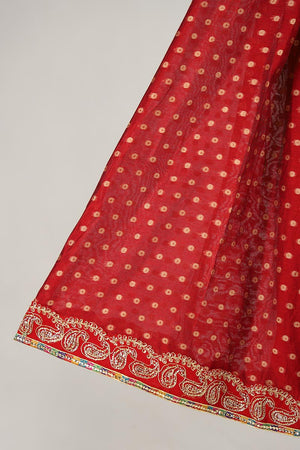 RED HANDLOOM BANARSI NET LENGHA WITH UNSTITCHED BLOUSE WITH DORI DETAILING ADDED