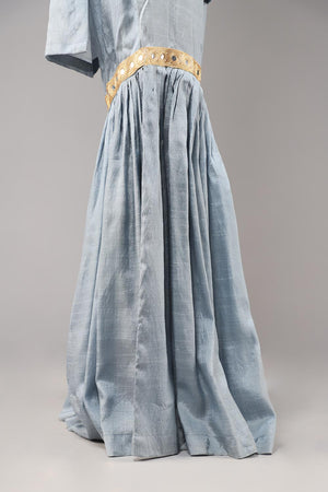 Pastel Blue Cotton Silk Gharara With Mirror Style Finishing