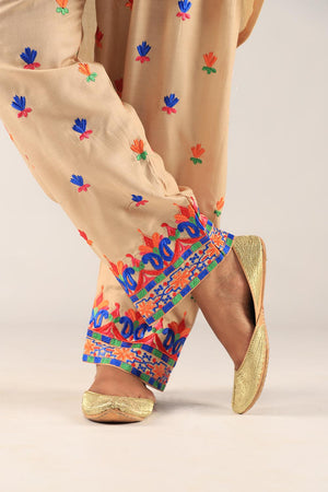 Beige colourful Embroidered Shalwar