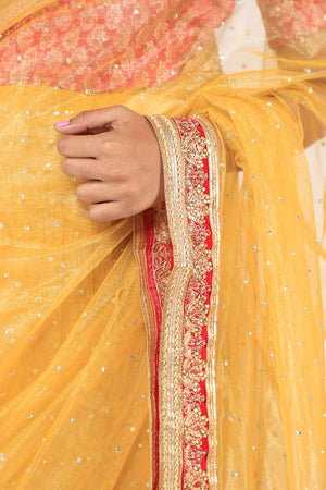 Yellow and Pink Meysuri Style Kundan Detail Saari
