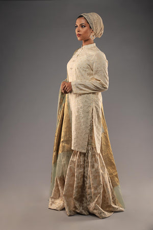 Tarnished Silver and Gold Banarsi Kimkhaab Style Gharara