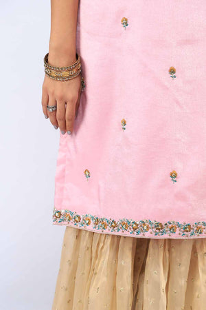 Baby Pink Halter Neck Style Shirt With Thread and Hand Embroidery