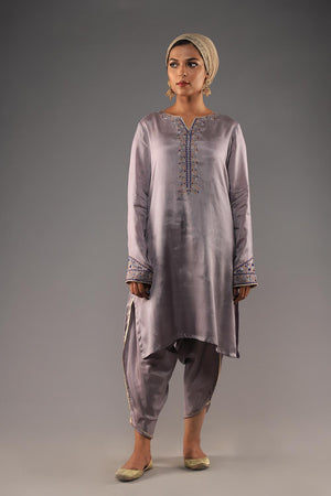 SILVER COTTON SILK KURTA WITH THREADWORK EMBROIDERY