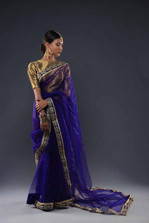 Electric Blue/Purple Saari with Mukesh Chan and Gota Style Borders