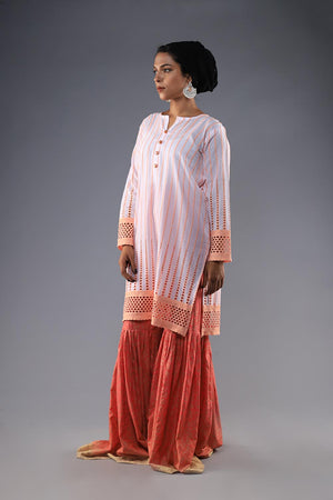 Peach and White Chikan Kurta