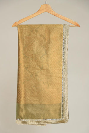 Jade Green Banarsi Organza Dupatta With Kiran Border Finishing