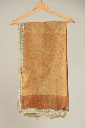 Rust Banarsi Organza Dupatta With Kiran Border Finishing
