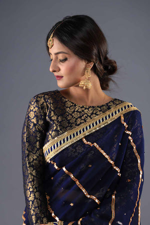 Navy Blue and Gold Banarsi Style Blouse