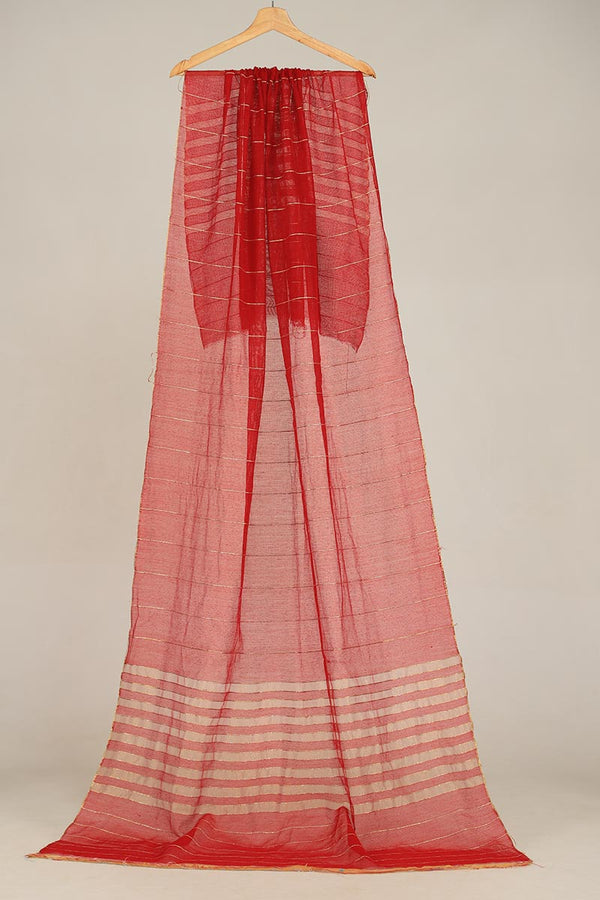 Red Khaadi Net Dupatta With Zari Thread Detail Finishing