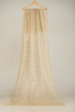 BEIGE KHAADI NET DUPATTA WITH ZARI THREAD DETAIL FINISHING