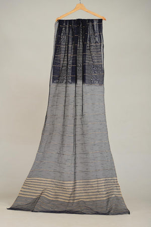 NAVY BLUE KHAADI NET DUPATTA WITH ZARI THREAD DETAIL FINISHING