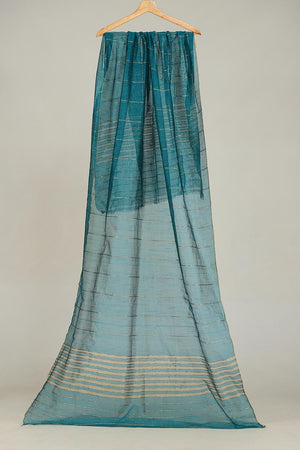 TURQUOISE KHAADI NET DUPATTA WITH ZARI THREAD DETAIL FINISHING